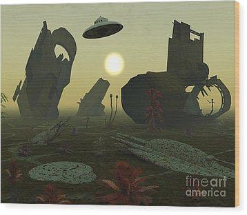 Artists Concept Of An Alien Scrap Yard Wood Print by Mark Stevenson