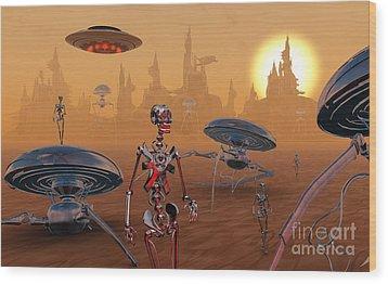 Artists Concept Of Life On Mars Long Wood Print by Mark Stevenson