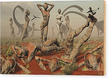 Artists Concept Of Mutated Dinosaurs Wood Print by Mark Stevenson