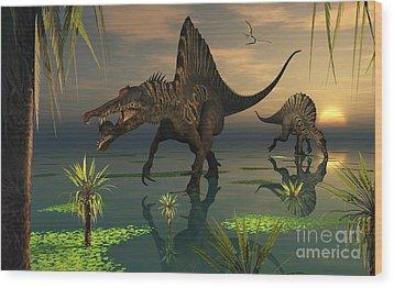 Artists Concept Of Spinosaurus Wood Print by Mark Stevenson