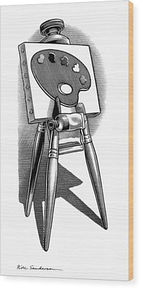 Artist's Easel, Artwork Wood Print by Bill Sanderson