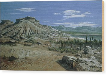 Artist's Impression Of Triassic Period Landscape. Wood Print by Ludek Pesek