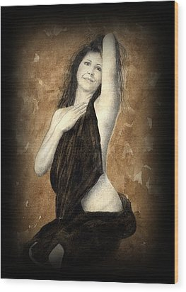 Artists Model Wood Print by Jan Farthing