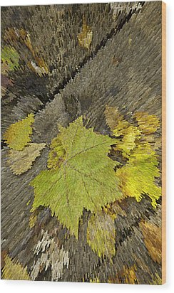 Artsy Autumn Leaves On Wood Wood Print by M K  Miller