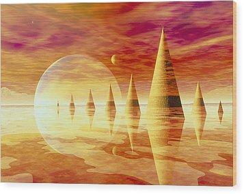 Artwork Of An Alien Landscape Wood Print by Mehau Kulyk