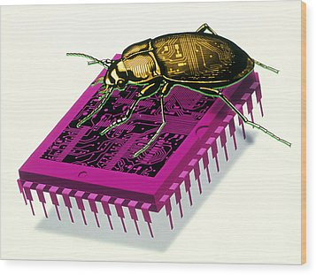 Artwork Of Millennium Bug With Beetle On Microchip Wood Print by Victor Habbick Visions
