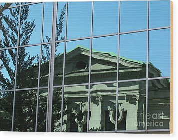 Wood Print featuring the photograph Arty Reflection Vancouver Canada by John  Mitchell