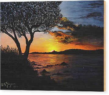 Wood Print featuring the painting Aruba Sunset by Stuart B Yaeger
