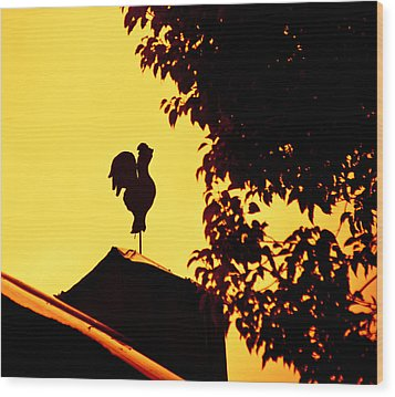 As A Rooster Crows Wood Print by Carolyn Marshall