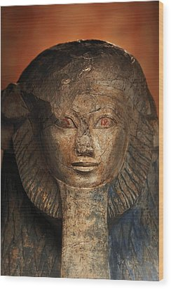 As A Sphinx, Hatshepsut Displays Wood Print by Kenneth Garrett