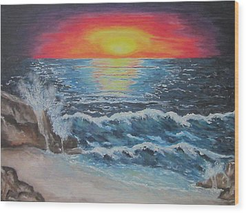 Wood Print featuring the painting As Dawn Breaks by Cheryl Pettigrew