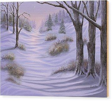 As Snow Falls Comes Silence Wood Print