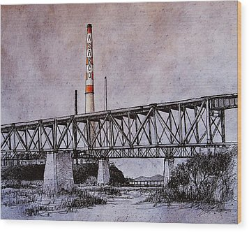 Asarco In Pen And Ink Wood Print by Candy Mayer