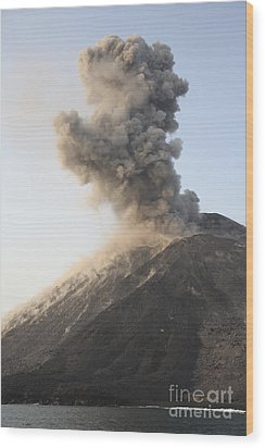 Ash Cloud From Vulcanian Eruption Wood Print by Richard Roscoe