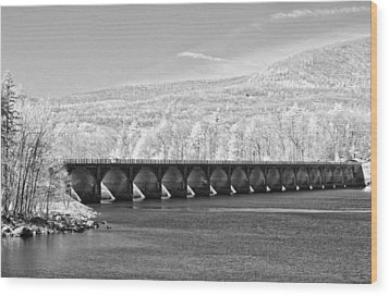 Wood Print featuring the photograph Ashokan Reservoir Infrared by Nancy De Flon