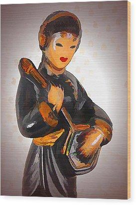 Asian Beauty Minstrel Wood Print by Kathy Clark