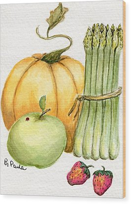Asparagus And Friends Wood Print by Paula Greenlee
