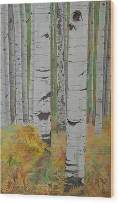 Aspens And Bracken Wood Print by Laurel Thomson