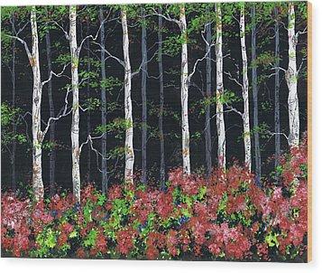 Aspens At Night Wood Print