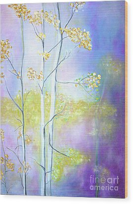Wood Print featuring the painting Aspens  by Barbara Anna Knauf
