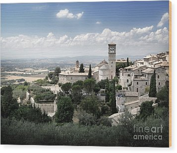 Assisi Italy - Bella Vista - 01 Wood Print by Gregory Dyer