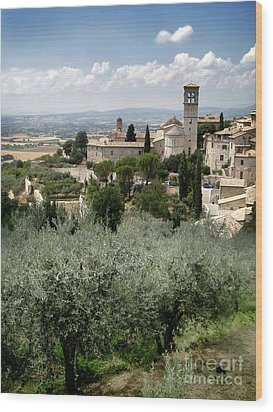 Assisi Italy - Bella Vista - 02 Wood Print by Gregory Dyer