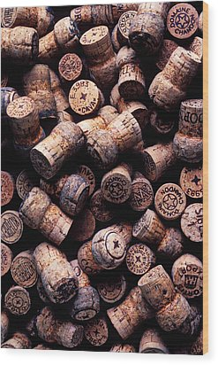 Assorted Champagne Corks Wood Print by Garry Gay