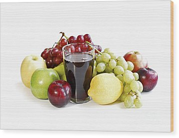 Assorted Fruits On White Wood Print by Elena Elisseeva