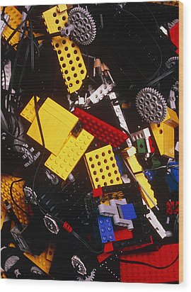 Assorted Lego Bricks And Cogs. Wood Print by Volker Steger
