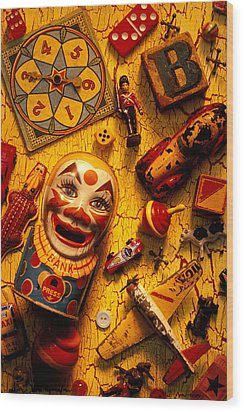 Assorted Old Toys Wood Print by Garry Gay