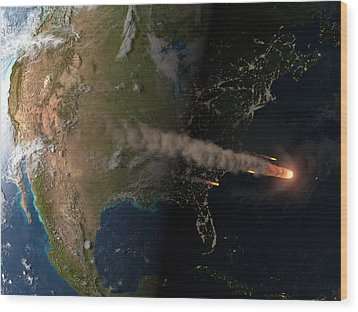 Asteroid Approaching Earth Wood Print by Joe Tucciarone Library