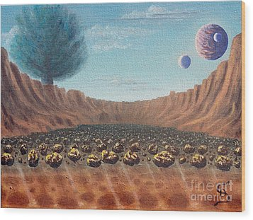 Asteroid Field From Arboregal Wood Print