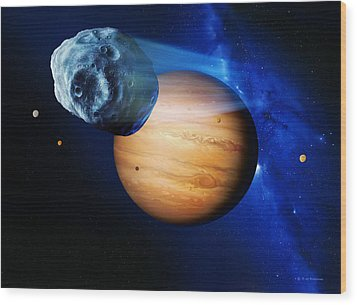 Asteroid Passing Jupiter Wood Print by Detlev Van Ravenswaay