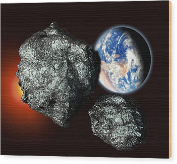 Asteroids Approaching Earth Wood Print by Victor Habbick Visions