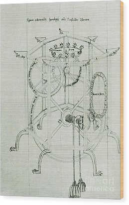 Astrarium Sketch By Giovanni De Dondi Wood Print by Science Source
