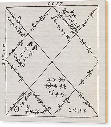 Astrology Chart, 16th Century Wood Print by Middle Temple Library