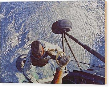 Astronaut Alan B. Shepard Is Hoisted Wood Print by Everett