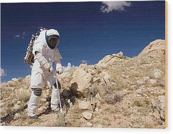 Astronaut Stands Beside A Core Sampling Wood Print by Stocktrek Images