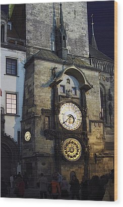 Astronomical Clock At Night Wood Print by Sally Weigand