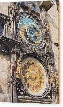 Astronomical Clock In Prague Wood Print by Artur Bogacki