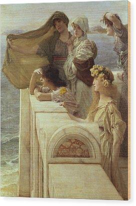 At Aphrodite's Cradle Wood Print by Sir Lawrence Alma-Tadema