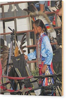 Wood Print featuring the photograph At Blackfeet Pow Wow 03 by Ausra Huntington nee Paulauskaite