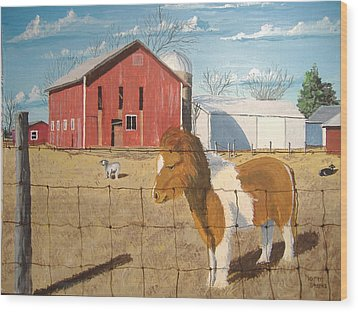 Wood Print featuring the painting At Home by Norm Starks