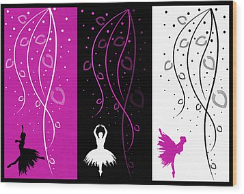 At The Ballet Triptych 2 Wood Print by Angelina Vick