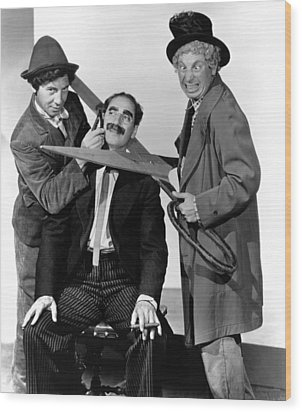 At The Circus, From Left Chico Marx Wood Print by Everett