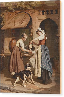 At The Dairy Wood Print by Theodore Gerard