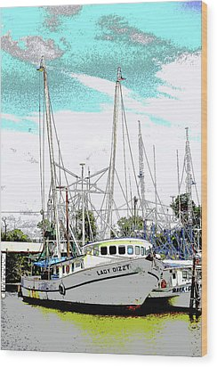 At The Dock Wood Print by Barry Jones