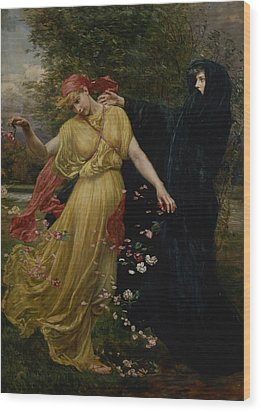 At The First Touch Of Winter Summer Fades Away Wood Print by Valentine Cameron Prinsep