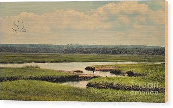 Wood Print featuring the photograph At The Marsh by Gina Cormier
