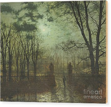 At The Park Gate Wood Print by John Atkinson Grimshaw